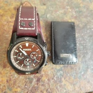 Fossil watch and money clip